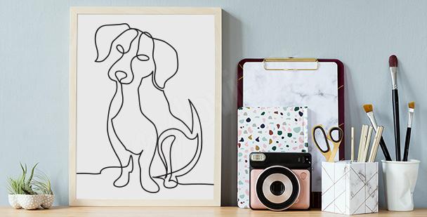Plakát se skicou psa