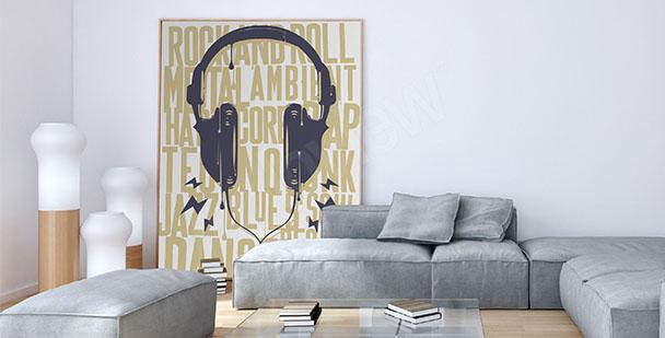 Plakát sluchátka a nápisy