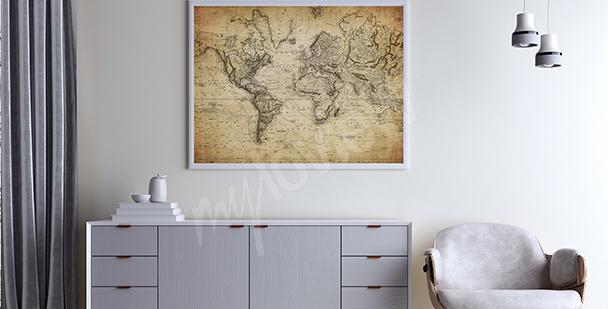 Plakát stylizovaný jako stará mapa