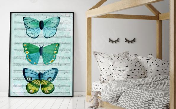 Plakát tři motýli