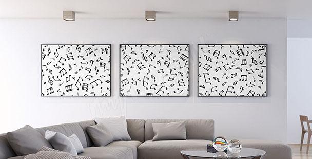 Plakát-triptych s notami