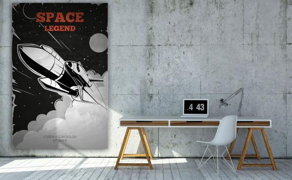 plakát vesmír a raketa