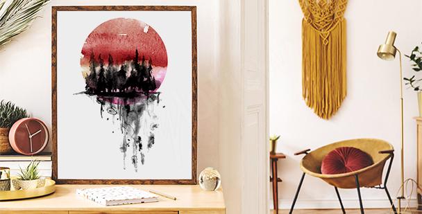 Plakát západ slunce v akvarelu