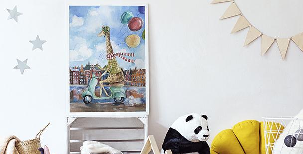 Plakát žirafa na skútru