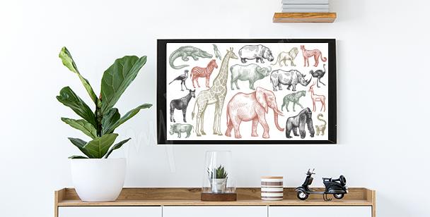 Plakát zvířata Afriky