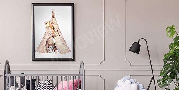 Plakát zvířata do dětského pokoje