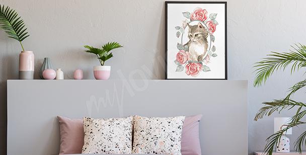 Plakát zvíře v pastelových barvách