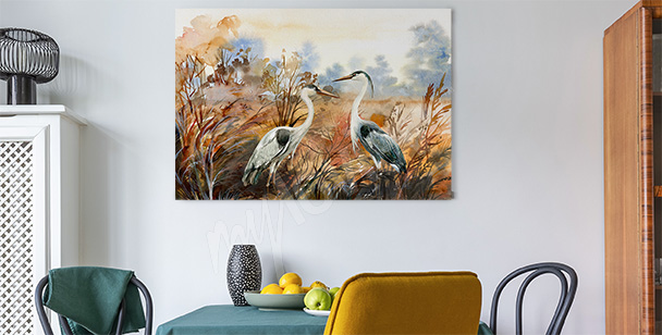 Podzimní obraz s ptáky
