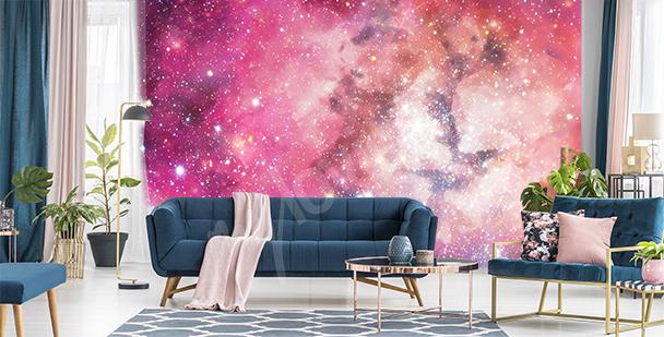 Růžová fototapeta galaxie