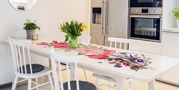 Růžová nálepka na stůl