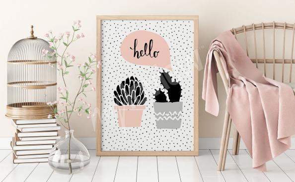 Skandinávský plakát kaktusy