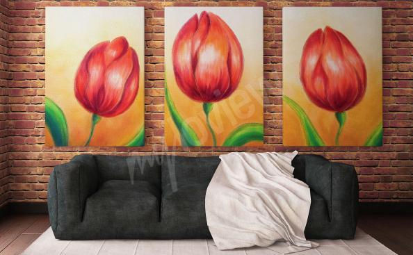 Triptych tulipány