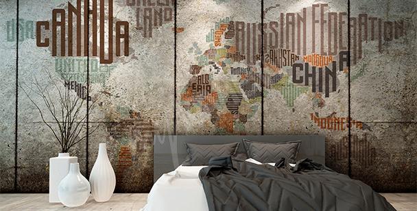 Typografická nálepka mapa světa