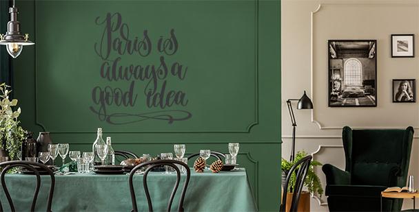 Typografická nálepka Paříž