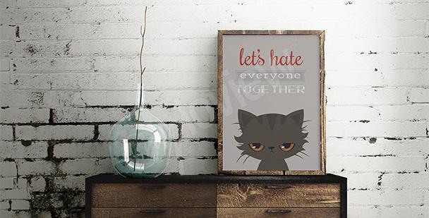 Typografický plakát s kočkou