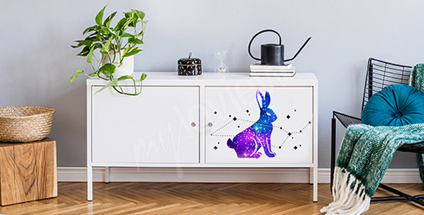 Vesmírná nálepka s králíkem