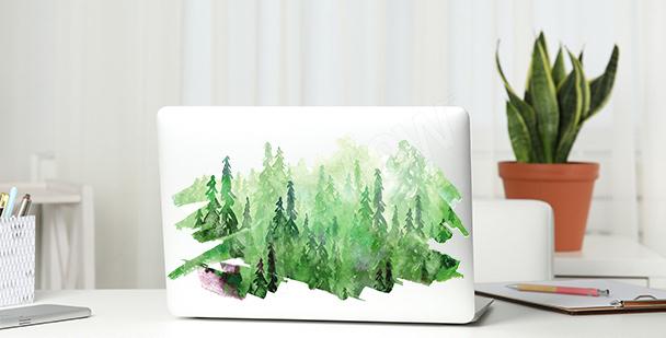 Zelená nálepka s akvarelem
