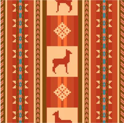 Fototapeta Dekorační její etnické vzory tkanin s lamy